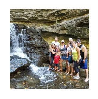 Beth & Family at Waterfall